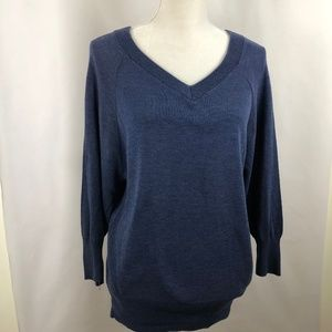 Blue V-Neck Top Womens Cotton Blend 3/4 Sleeve